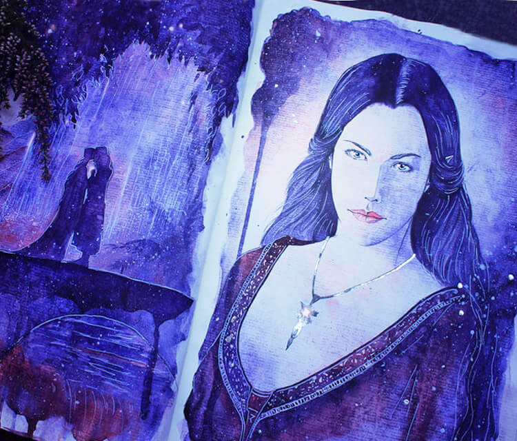 Arwen the Evenstar watercolor painting by Kinko White