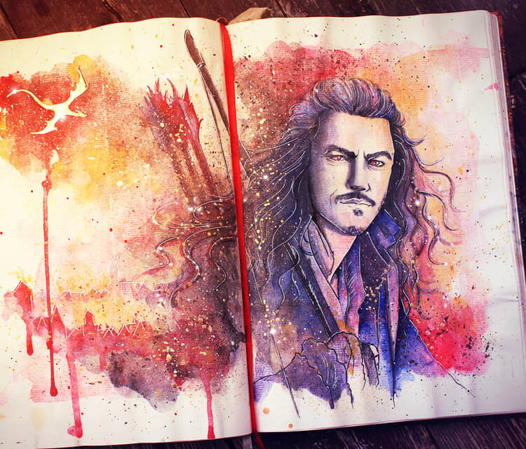 Bard the bowman watercolor painting by Kinko White