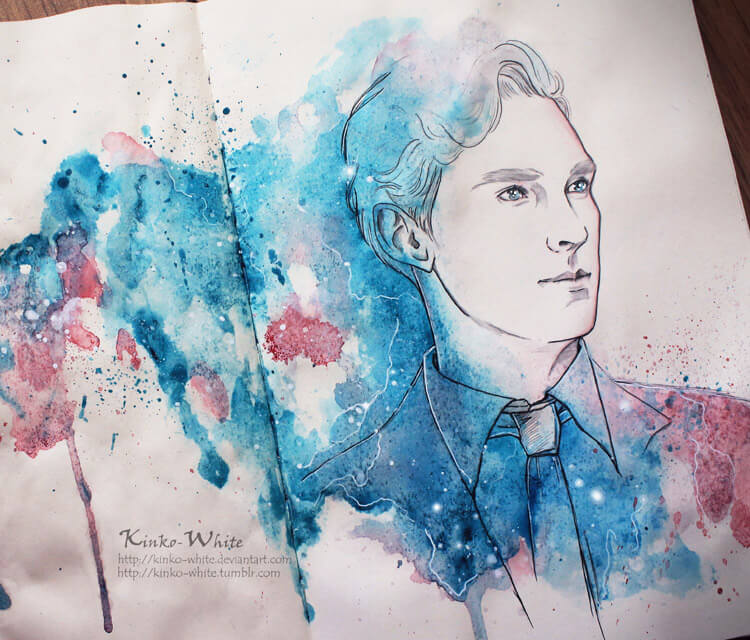Bright blue eyes watercolor painting by Kinko White