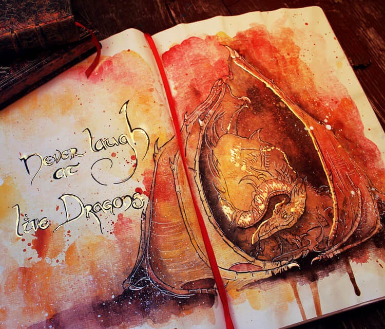 Dragon live watercolor painting by Kinko White