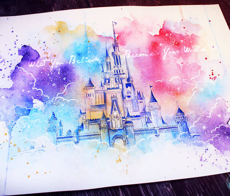 Dream castle watercolor painting by Kinko White