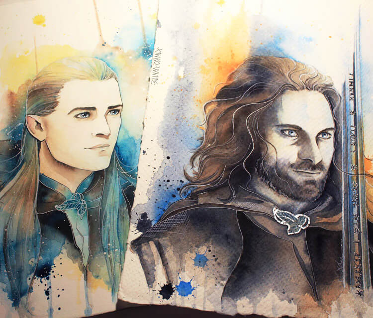 Legolas and Aragorn watercolor painting by Kinko White