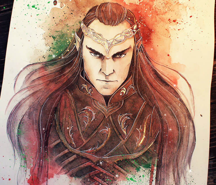 Lord of Rivendell watercolor painting by Kinko White