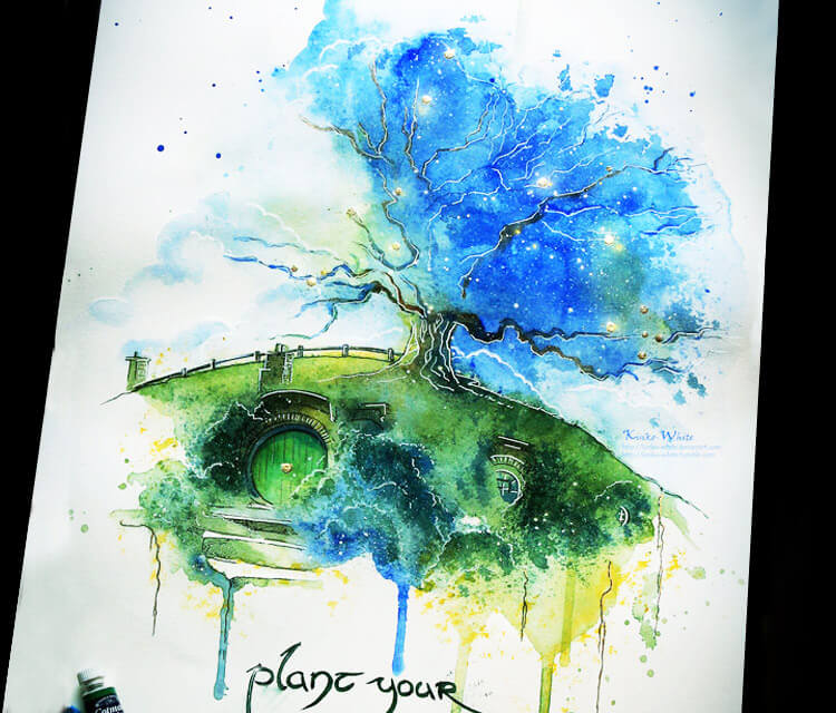 Oak tree watercolor painting by Kinko White