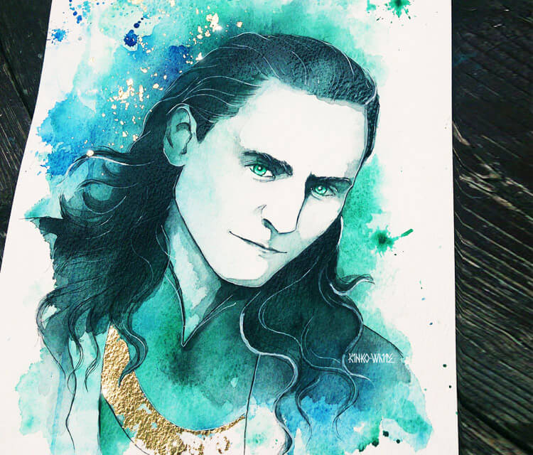 Loki watercolor painting by Kinko White