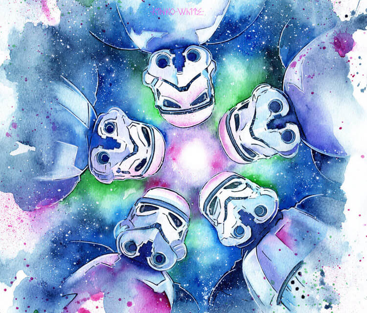 Snow Flake Troopers watercolor painting by Kinko White