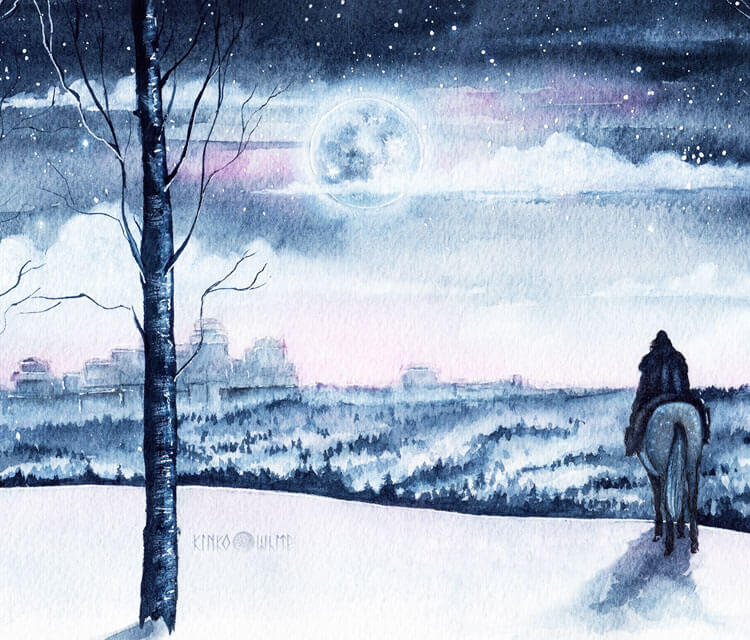 The North Remembers watercolor painting by Kinko White