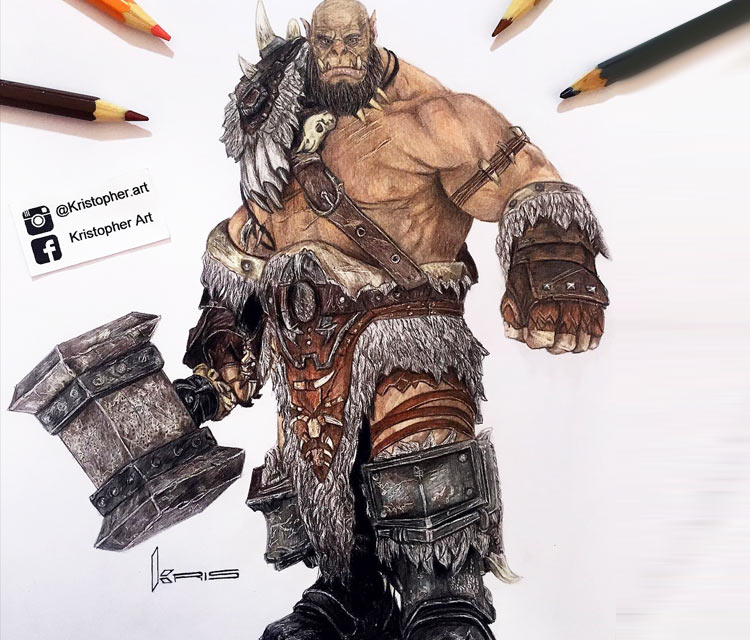 Orgrim Doomhammer pencil drawing by Kristopher Lambertin