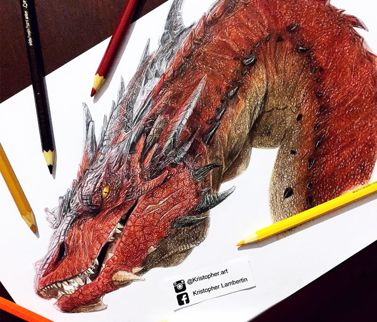 Smaug pencil drawing by Kristopher Lambertin