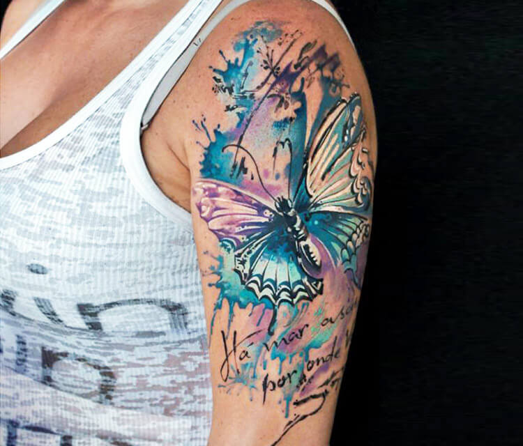 Abstract Butterfly tattoo by Led Coult