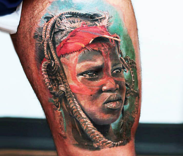 African Abo portrait tattoo by Led Coult