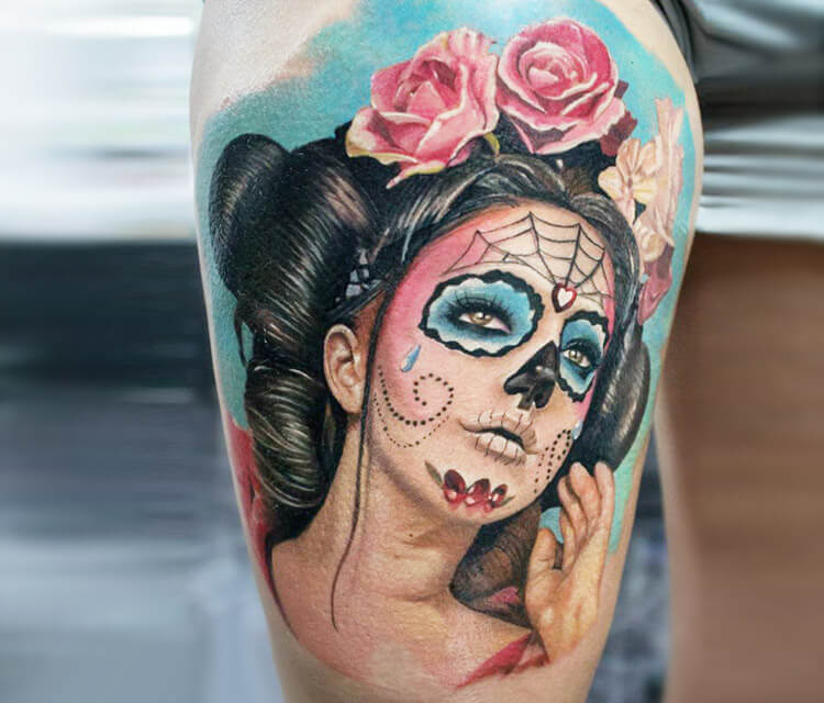 Beautiful Muerte tattoo by Led Coult