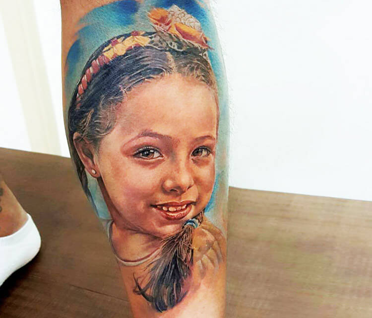 Child portrait 2 tattoo by Led Coult