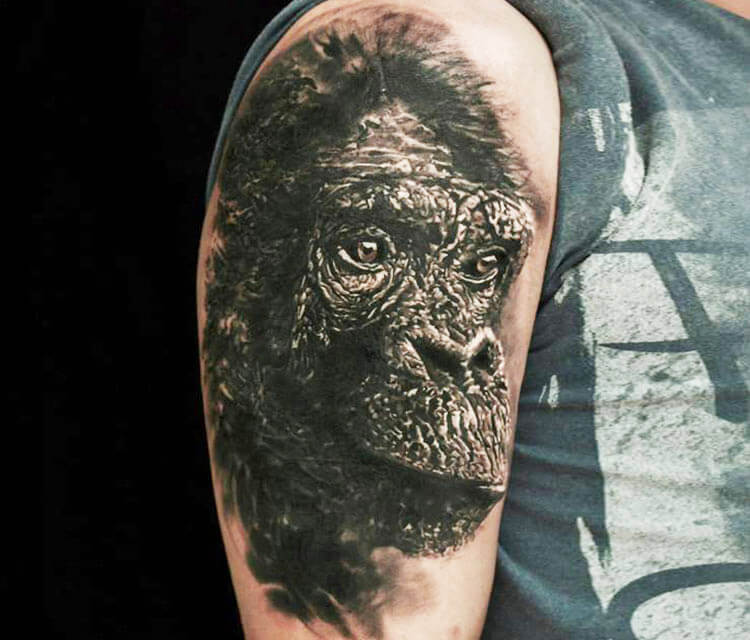 Chimpanzee tattoo by Led Coult