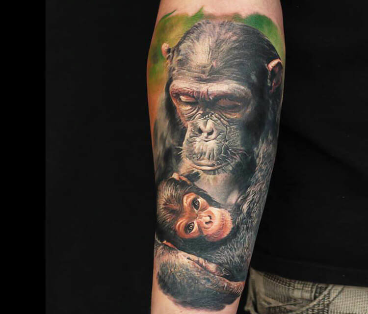 Chimpanzee Monkey tattoo by Led Coult