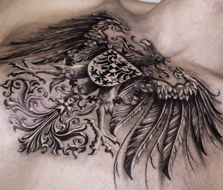 Coat of arms tattoo by Led Coult