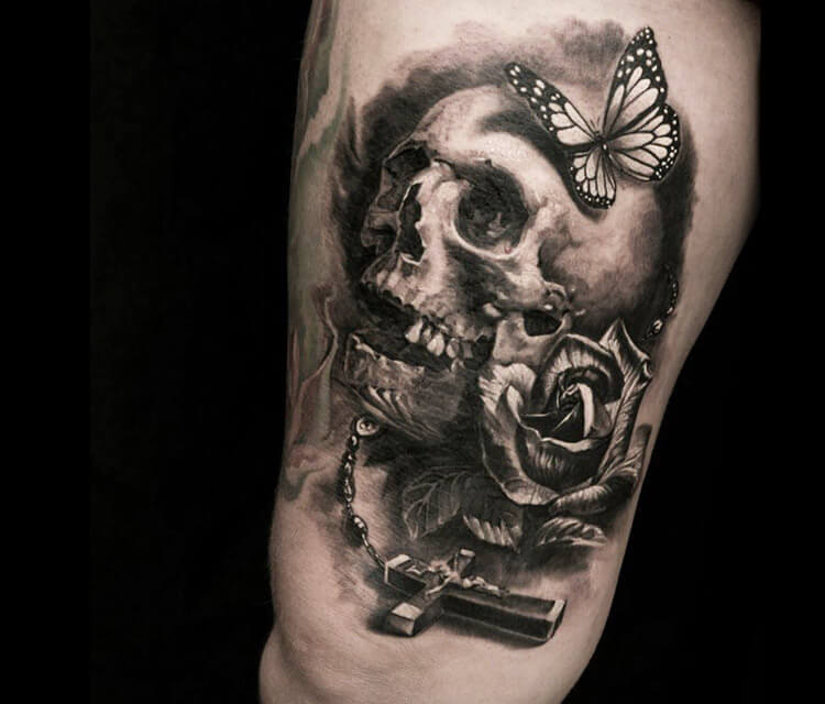 Cross Skull tattoo by Led Coult