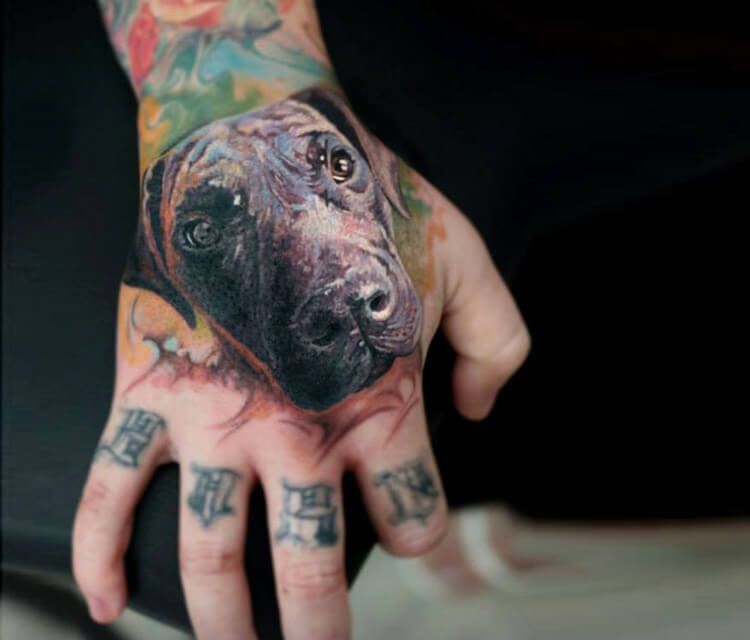 Doggy portrait tattoo by Led Coult