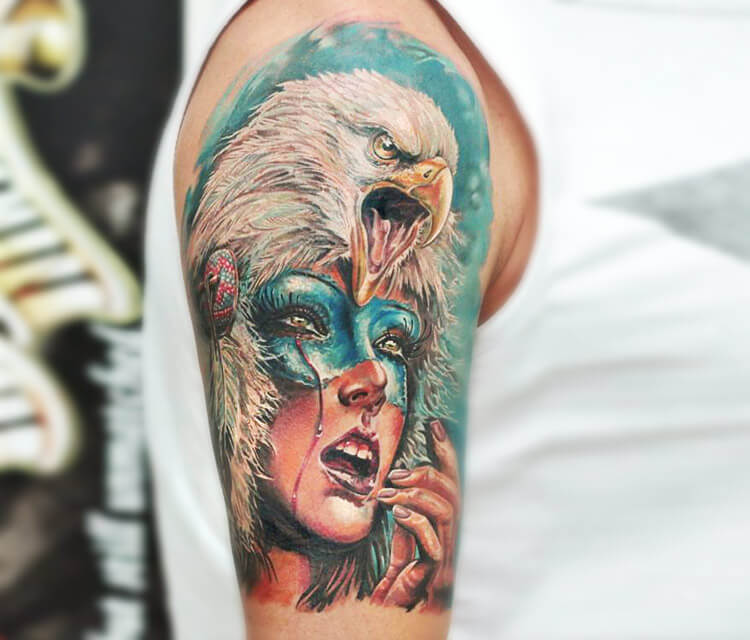 Eagle squaw tattoo by Led Coult
