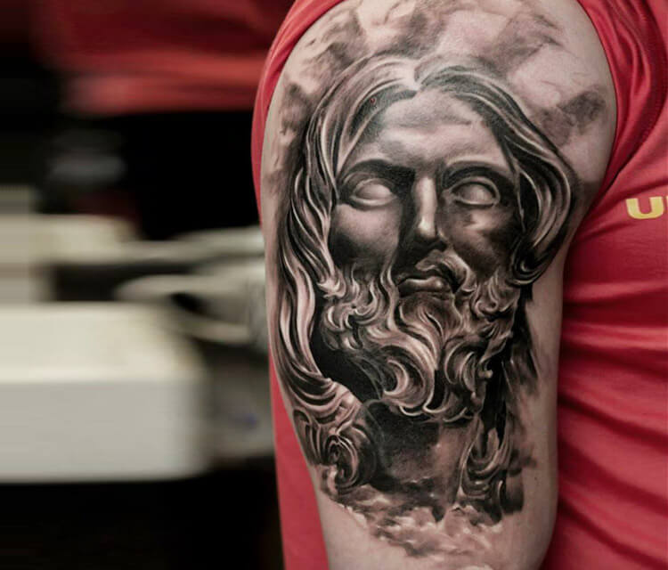 God Poseidon tattoo by Led Coult