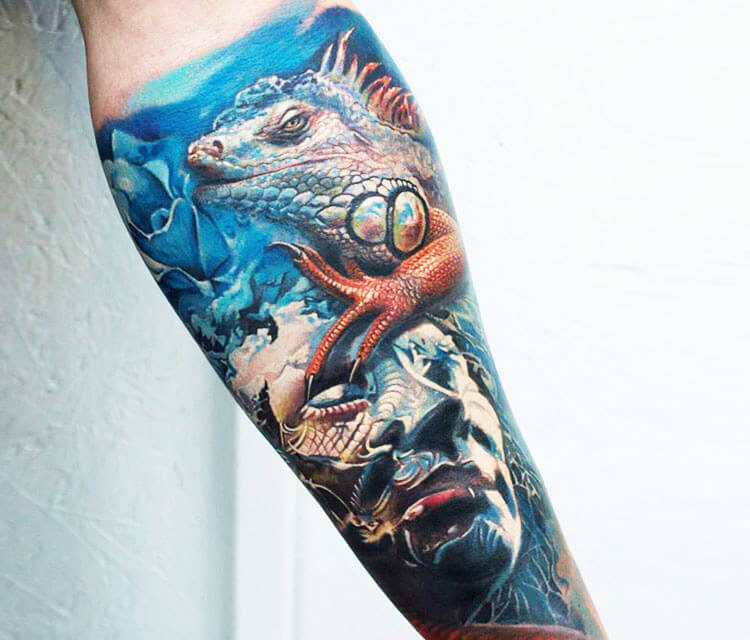 Iguana tattoo by Led Coult