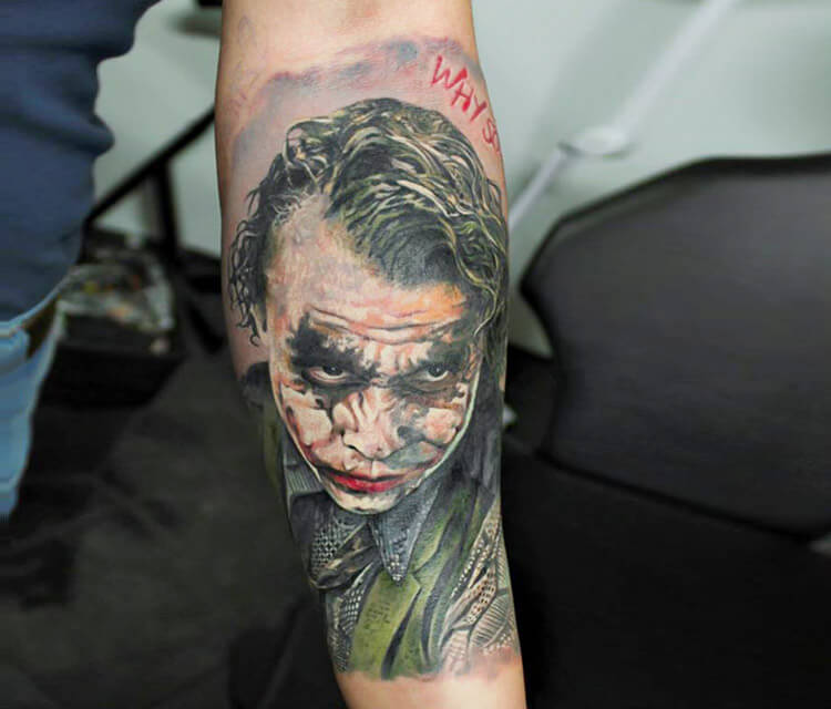 Joker from Batman tattoo by Led Coult