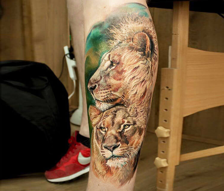Lions tattoo by Led Coult