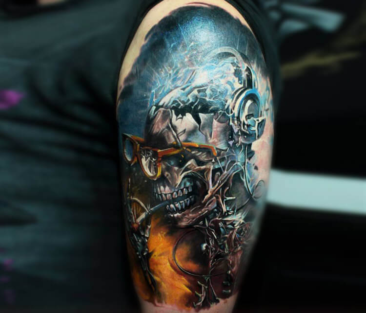 Mechanic Skull tattoo by Led Coult