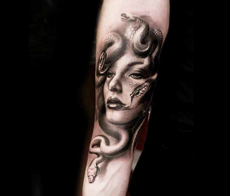 Medusa snake tattoo by Led Coult