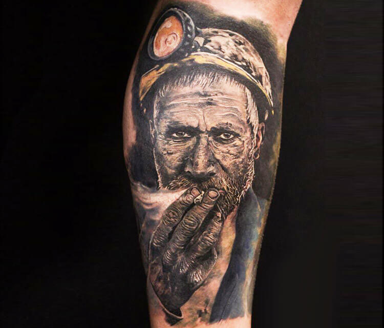 Miner tattoo by Led Coult