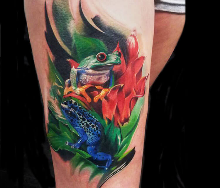 Nature frogs tattoo by Led Coult