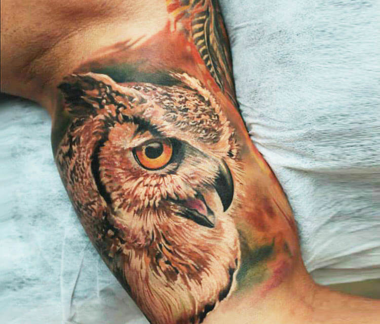 Owl tattoo by Led Coult