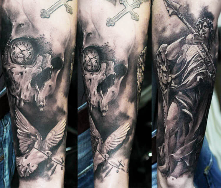 Skull Angel dove of peace tattoo by Led Coult