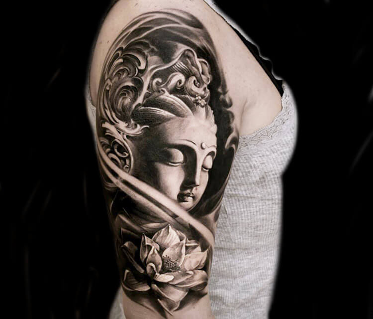 Statuary face tattoo by Led Coult