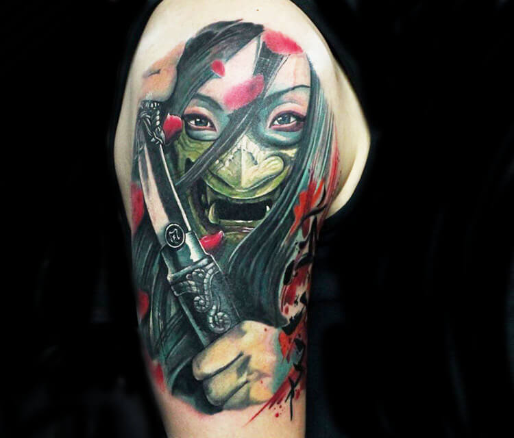 Warrior with mask tattoo by Led Coult