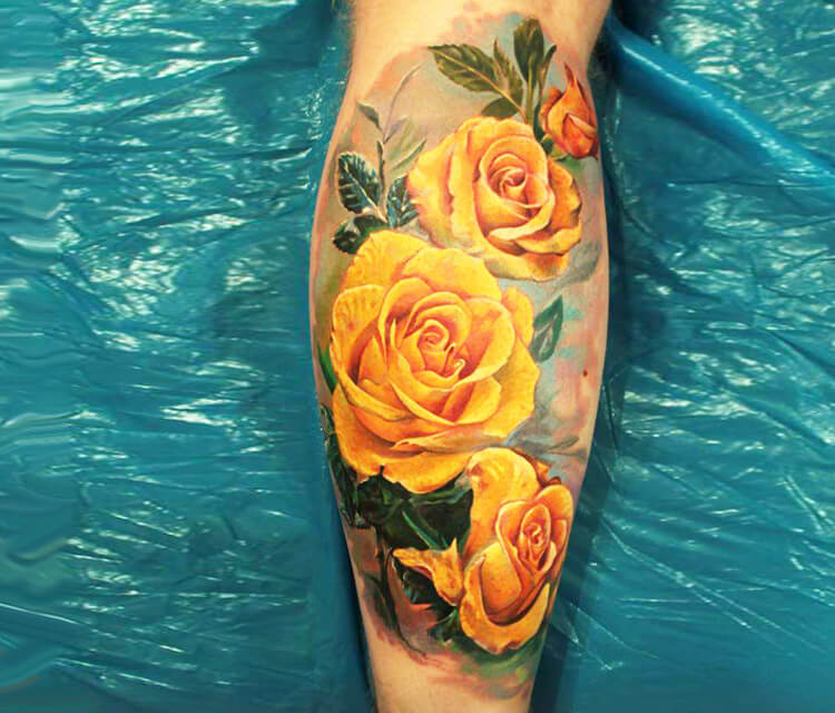 Yellow rose tattoo by Led Coult