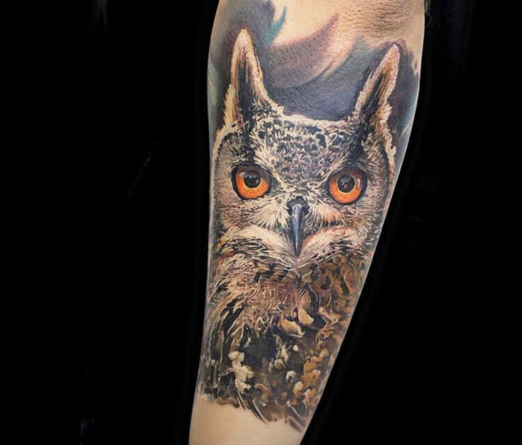 Zephyr Owl tattoo by Led Coult