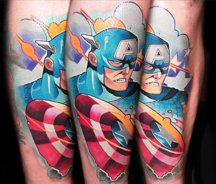 Capitan America tattoo by Lehel Nyeste