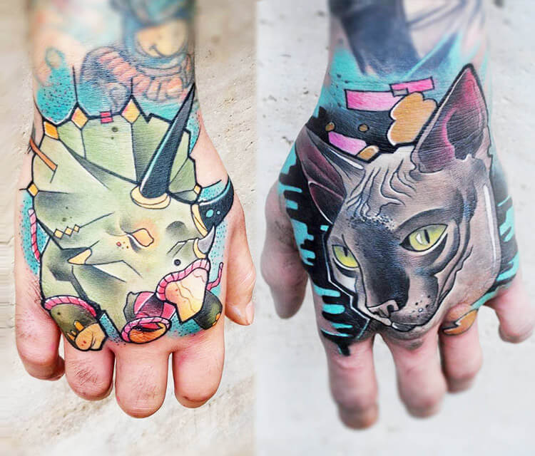 Cat and Rhino Two hand tattoo by