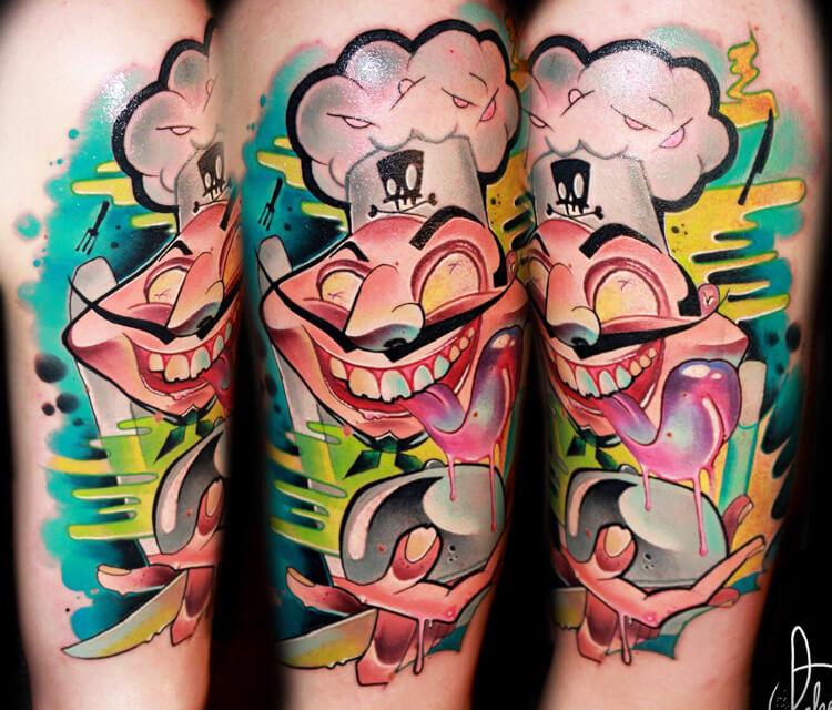 Crazy Chef tattoo by Lehel Nyeste