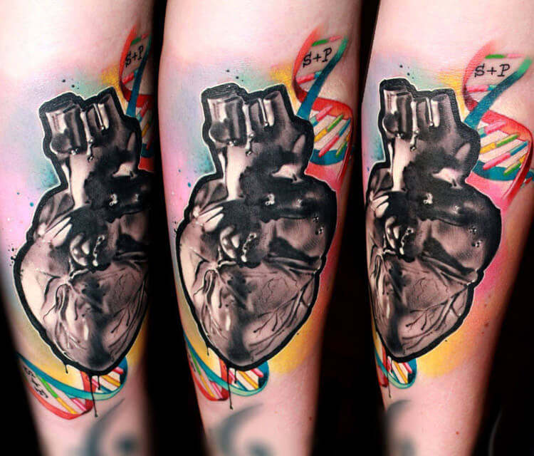 DNA Heart tattoo by Lehel Nyeste
