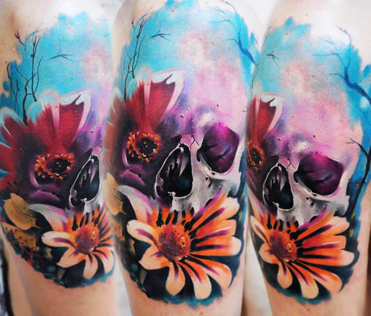 Flower Skull tattoo by Lehel Nyeste