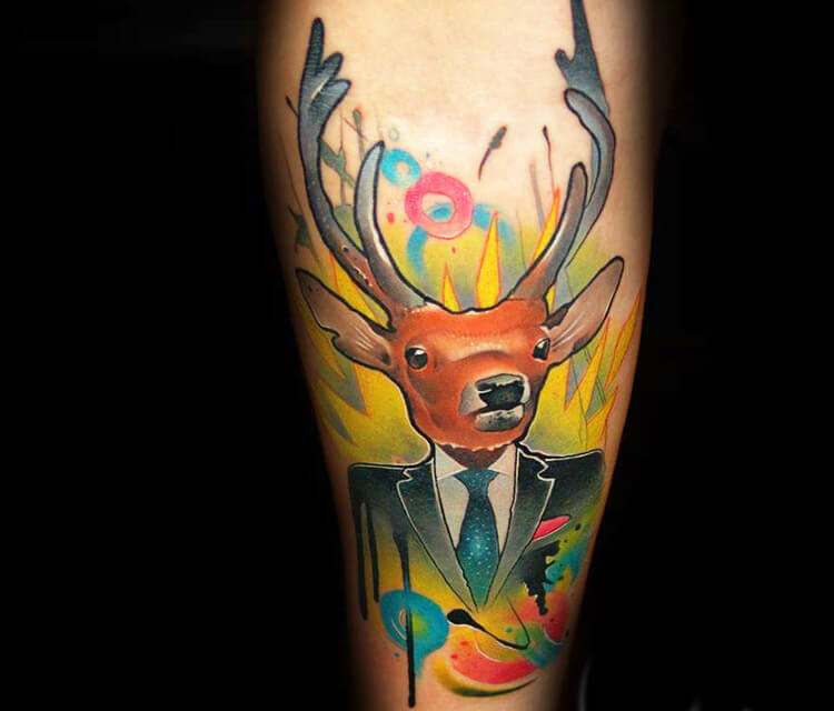 Gentle deer tattoo by Lehel Nyeste