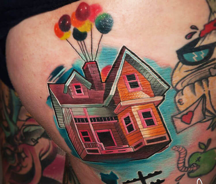 Home from up balloons tattoo by Lehel Nyeste