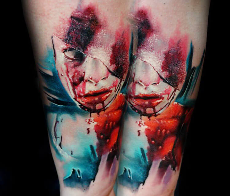 Horror face tattoo by Lehel Nyeste