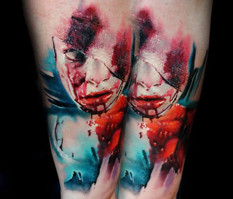 Horror face tattoo by Lehel Nyeste
