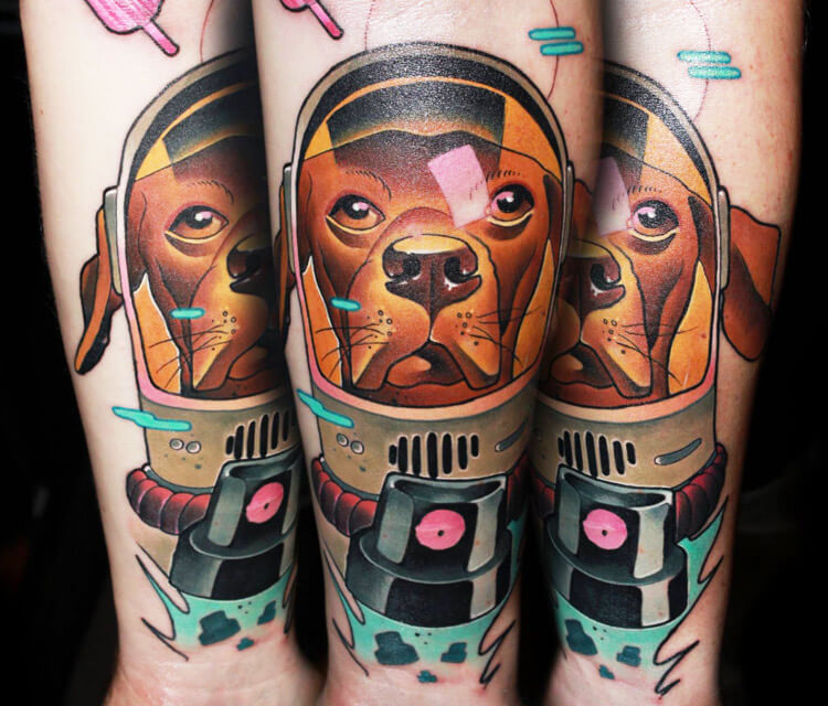 Space Dog tattoo by Lehel Nyeste