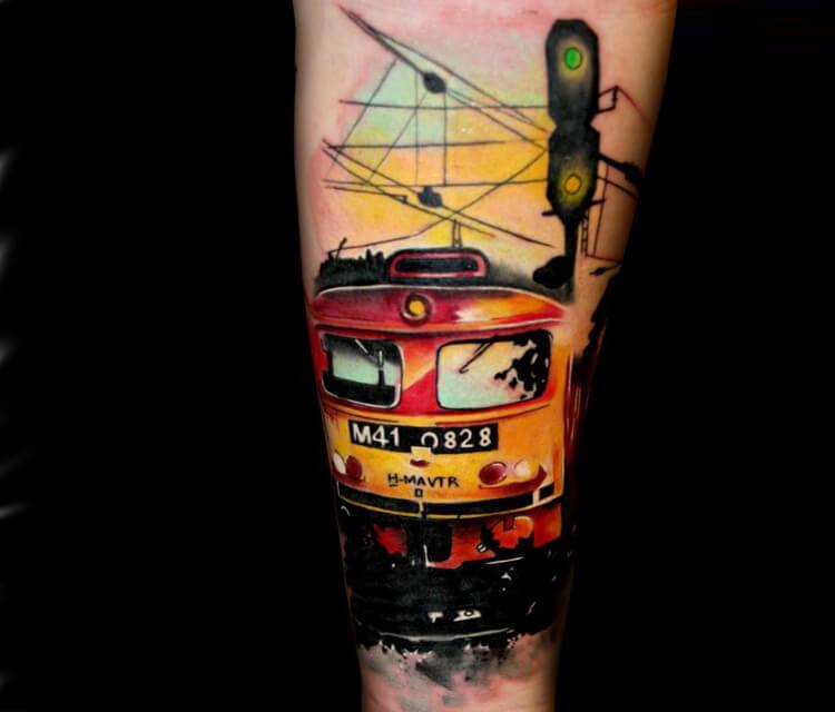 Train tattoo by Lehel Nyeste