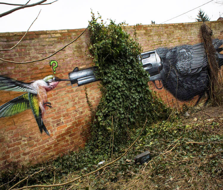 Birds ambush streetart by Lonac Art