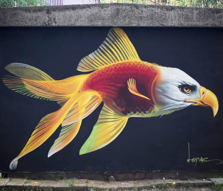 Big fish streetart by Lonac Art